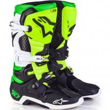 Alpinestars Tech 10 boots - Black/White/Yellow/Green Fluo